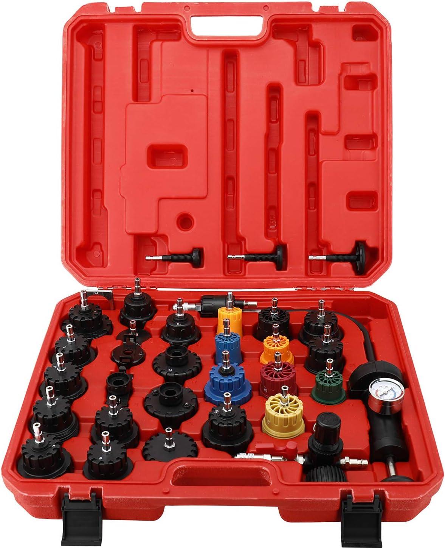 8MILELAKE 33Pcs Radiator and Cap Pressure Tester Kit Vacuum Type Cooling System Kit