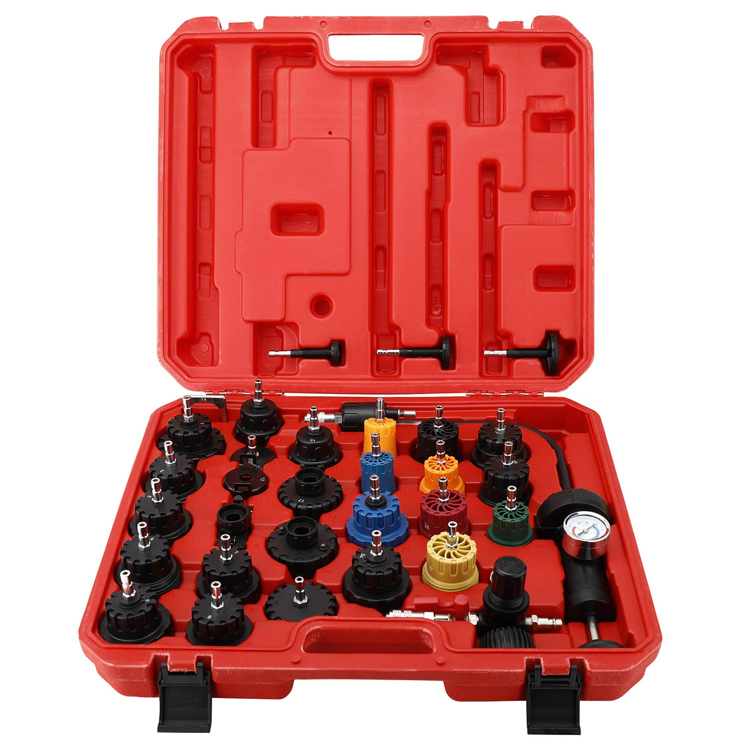 8MILELAKE 33Pcs Radiator and Cap Pressure Tester Kit Vacuum Type Cooling System Kit