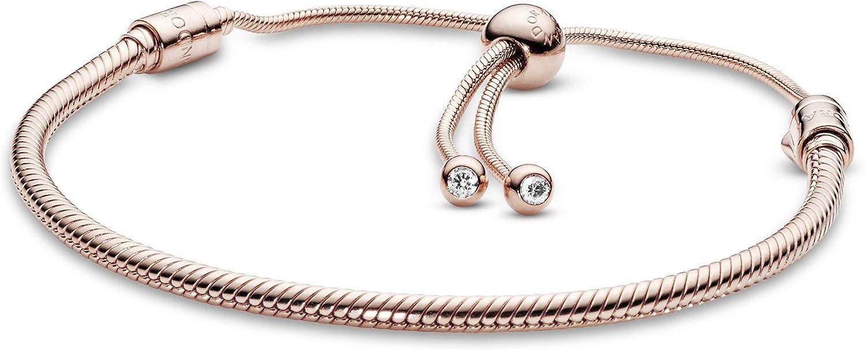 Amazon Com Pandora Jewelry Moments Slider Snake Chain Cubic Zirconia Bracelet In Pandora Rose 11 0 Clothing