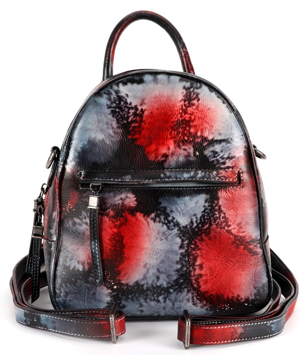 Sophmoda Vintage Style Genuine Cow Leather Backpack Women's Shoulder Bag-A521 (Multicoloured-1)
