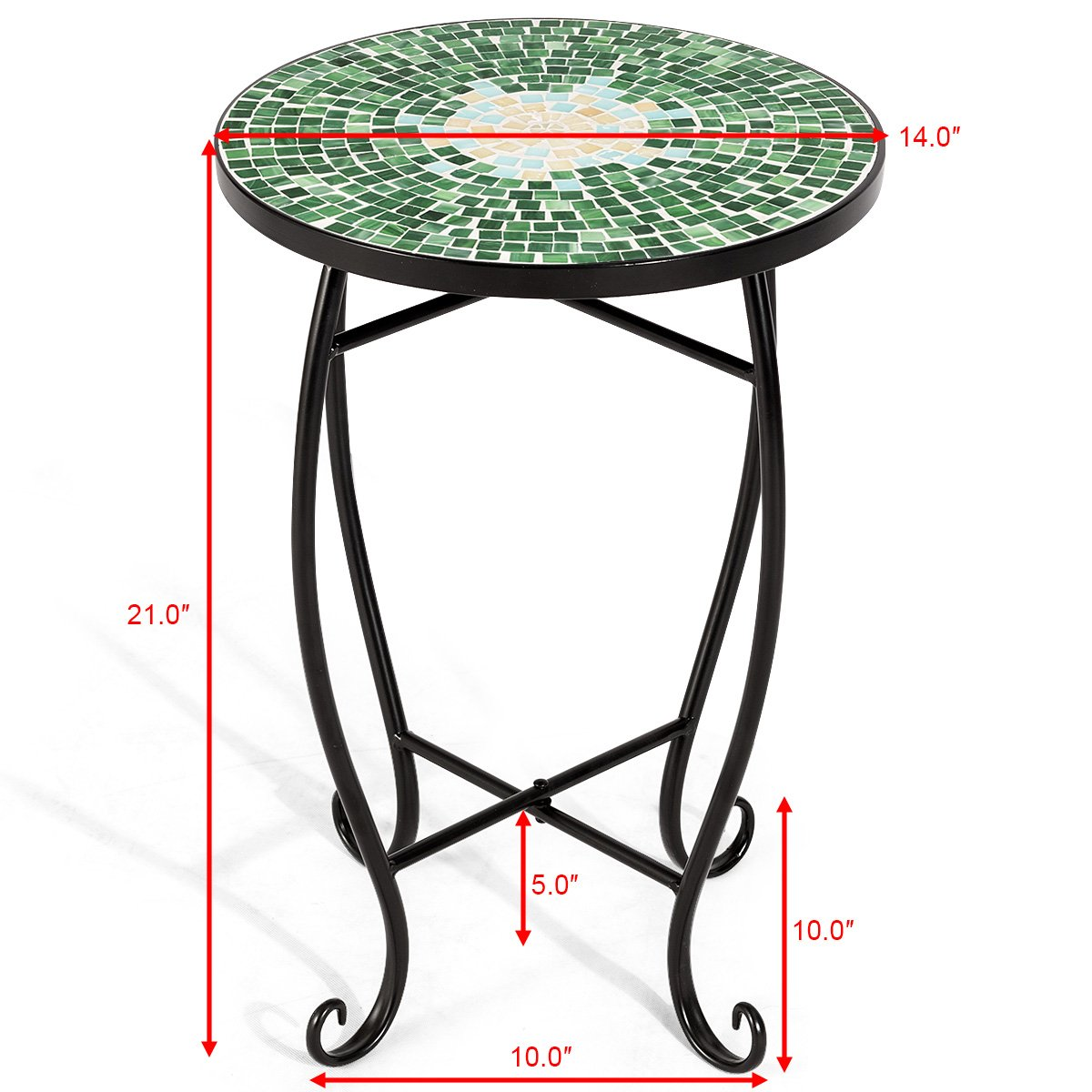 Giantex Mosaic Round Side Accent Table Patio Plant Stand Porch Beach Theme Balcony Back Deck Pool Decor Metal Cobalt Glass Top Indoor Outdoor Coffee End Table (Secret Garden)