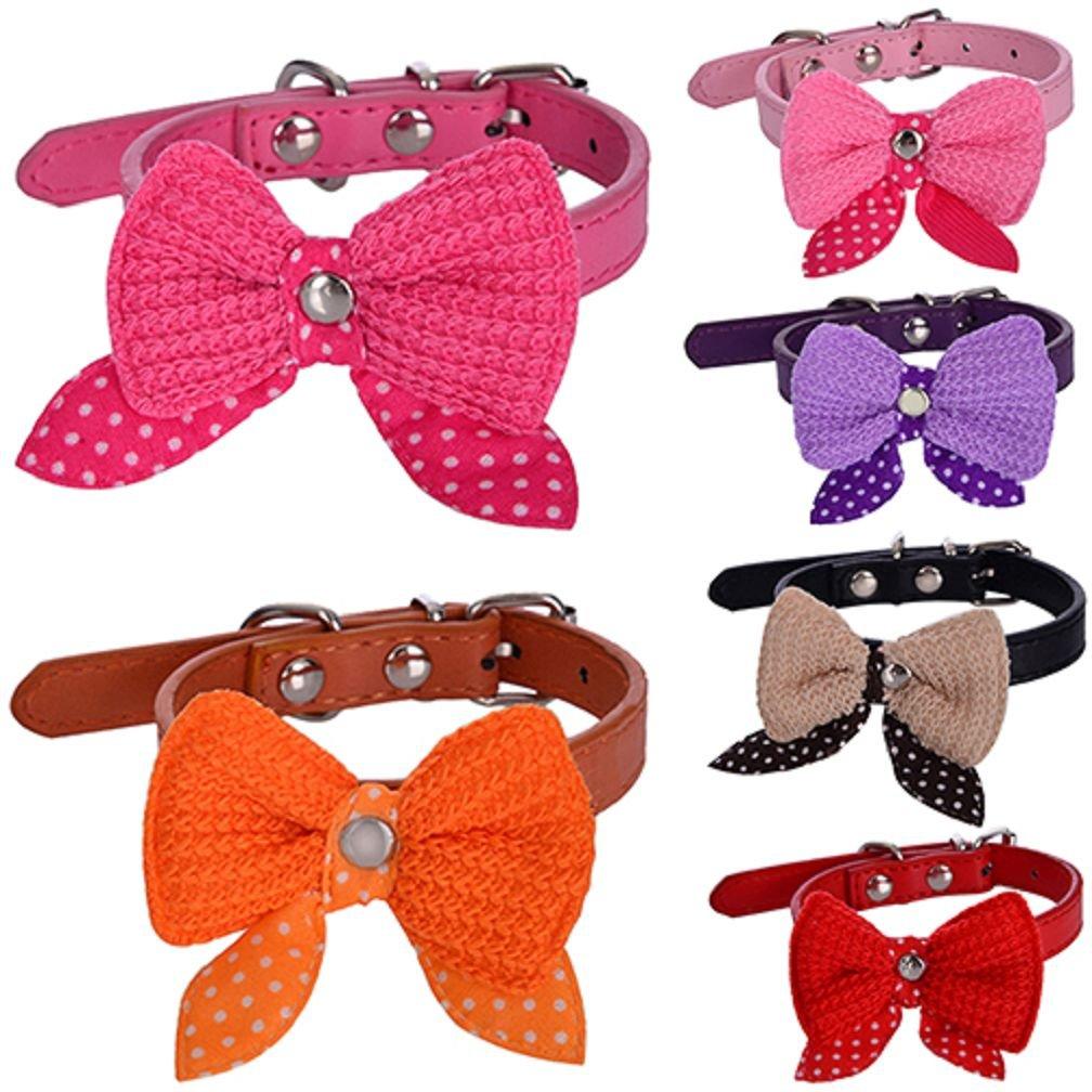 Alcioneo regolabile a maglia con fiocco in ecopelle Pet Dog Cat Puppy Collar Neck Lace