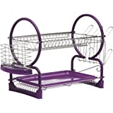 2 Tier Dish Drainer Purple Chrome With Removable Drip Tray