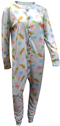 Gingerbread Man Holiday Union Suit Pajama With Drop Seat for men (X-Small)