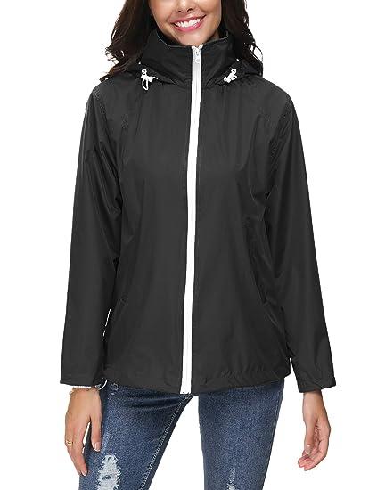 2287daadf7f42b ZHENWEI Regenjacke Damen Wasserdicht Outdoorjacke Regenmantel Schwarz  Softshelljacken Walk Kapuzenjacke Streetwear