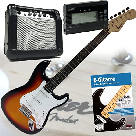 Fender Squier Bullet Strat guitarra eléctrica con 30 W Amplificador y Overdrive, libro + CD