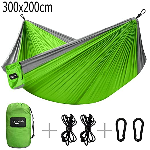 Camande Double Camping Hammock Travel Lightweight Parachute Portable Hammock for Outdoor Hiking Backyard Green (300 x 200cm)