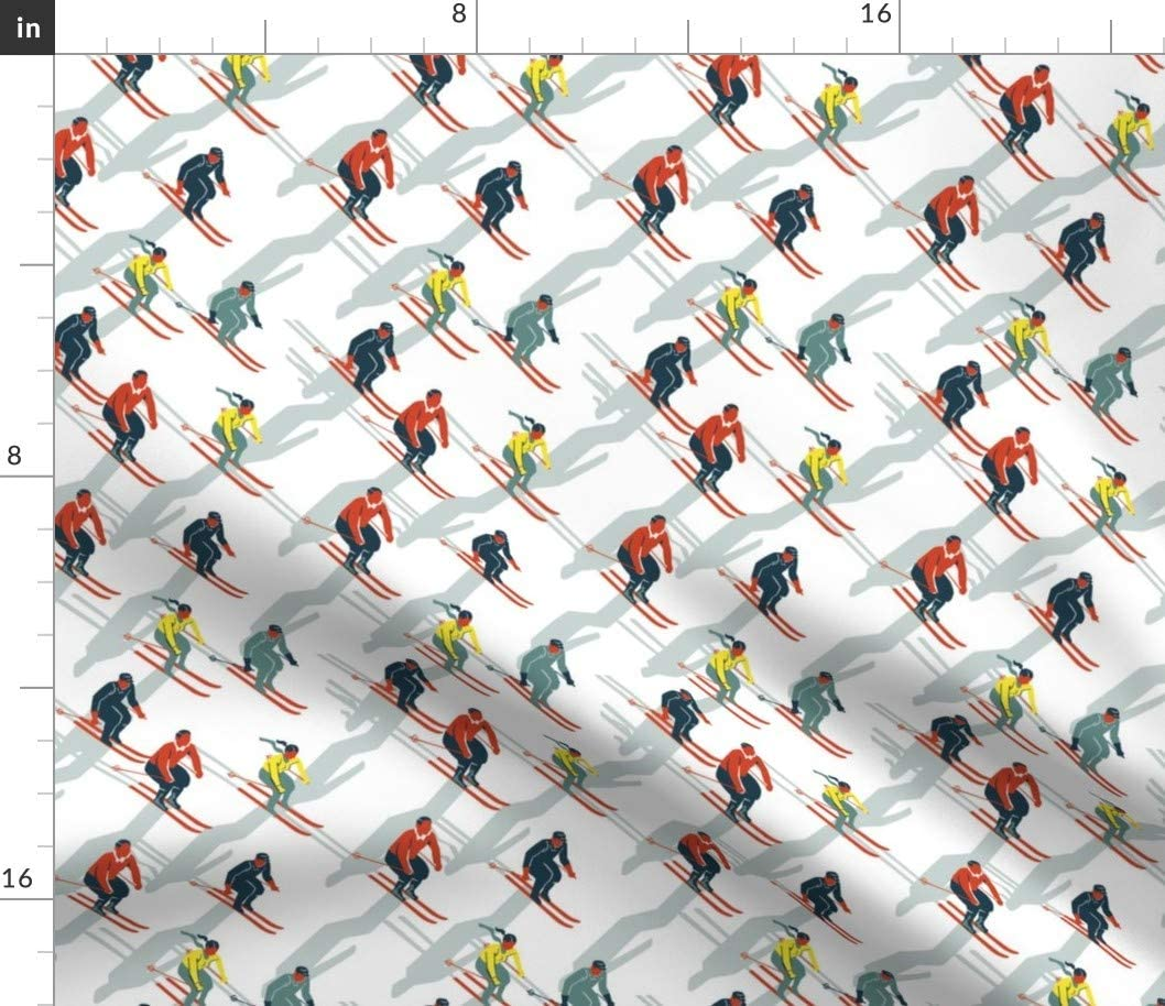 Spoonflower Fabric - Ski Carnival Skiing Vintage Style Teal White Snow Racing Winter Ice Printed on Petal Signature Cotton Fabric by The Yard - Sewing Quilting Apparel Crafts Decor