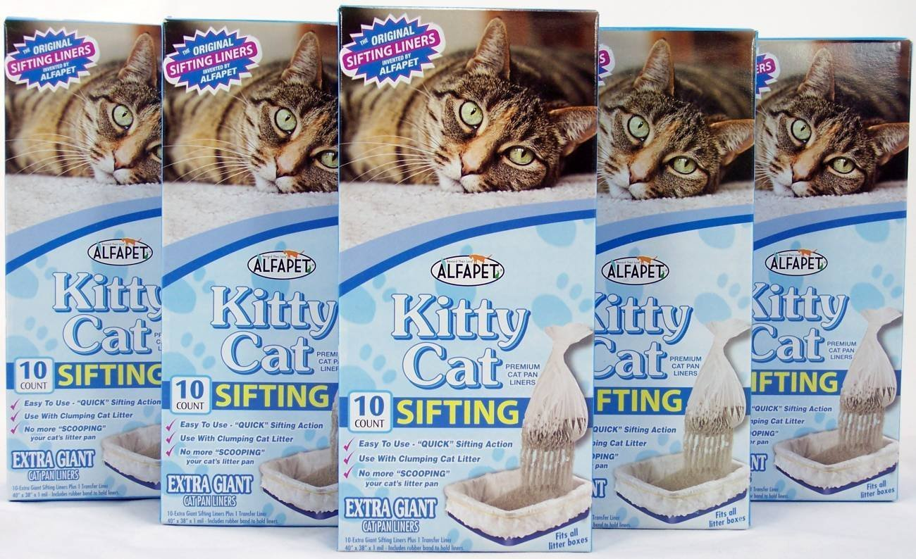 Alfapet Kitty Cat Sifting Litter Box Liners- 10 Per Box Plus 1 Transfer Liner.