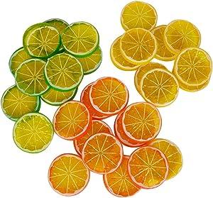 Realistic Fake Artificial Lemon Limes Slice Simulation Fruit Decoration, Mini Small Simulation Lemon Slices Plastic Fake Artificial Fruit Model Party Kitchen Wedding Decoration ( 30 Pack )