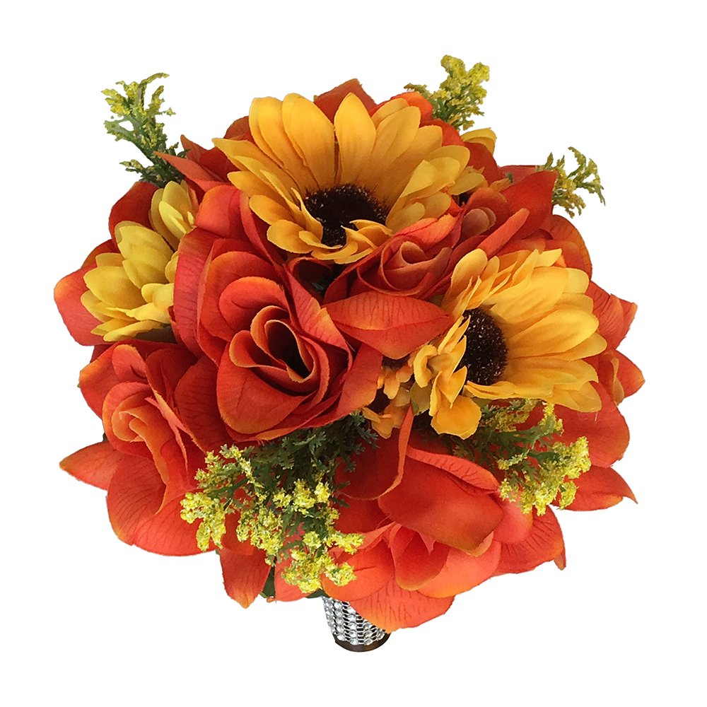 Amazon 9 Wedding Bouquet Orange Roses And Yellow Sunflowers