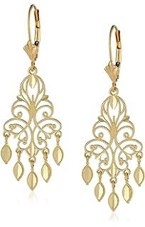 Amazon.com: 14k Yellow Gold Diamond-Cut Chandelier Drop Earrings ...