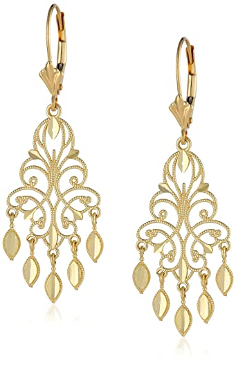 Amazon 14k yellow gold chandelier earrings 15 dangle 14k yellow gold chandelier earrings 15quot aloadofball Choice Image