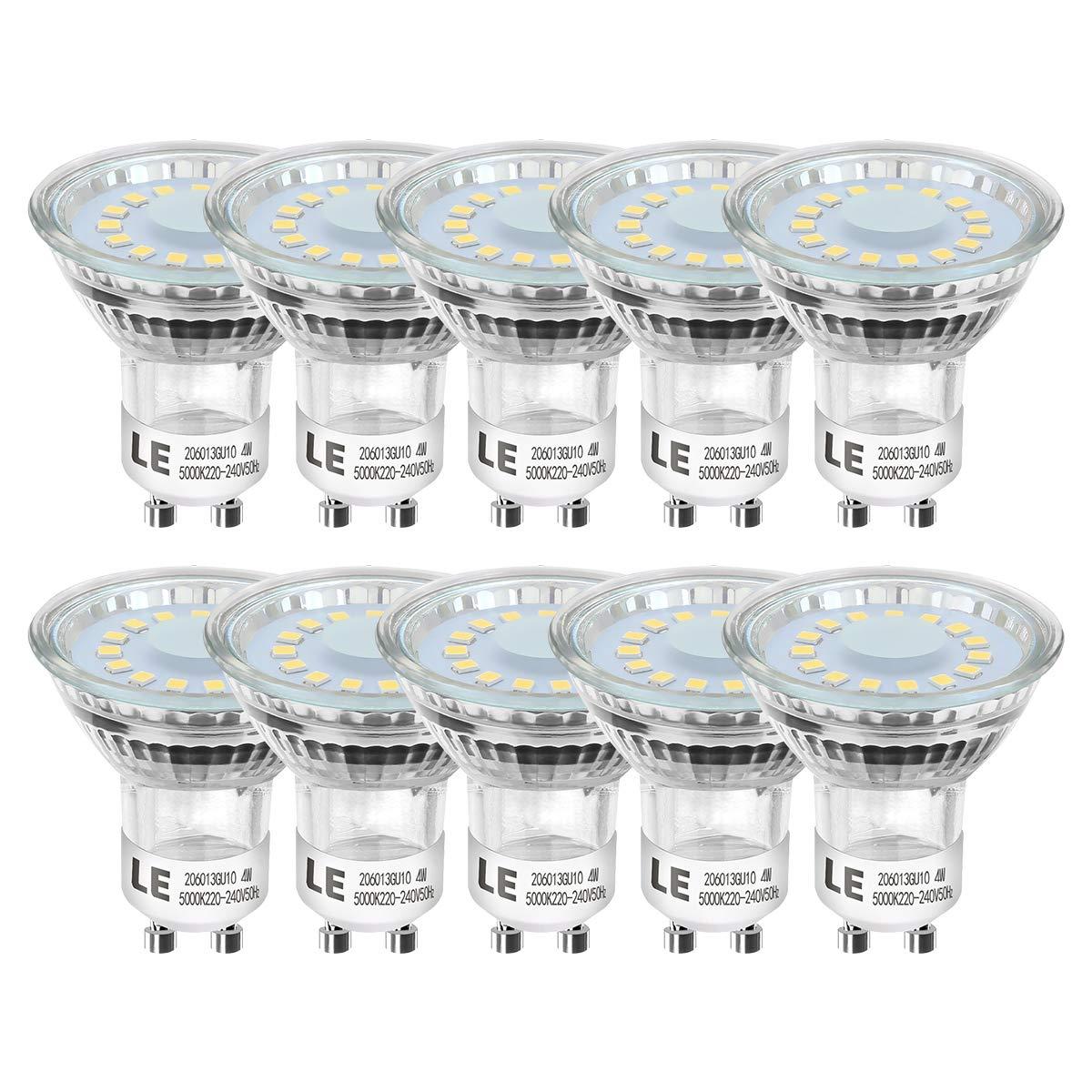 LE Bombillas LED, Foco GU10 4W Equivalente 50W Halógena 350lm Blanco Luz de Día,