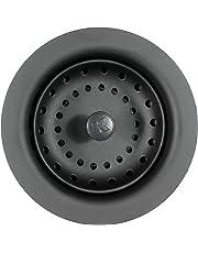 Keeney Manufacturing K5414BLK colador de fregadero con cesta de poste fija, color negro
