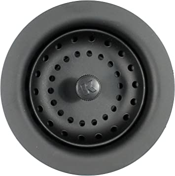 Durable Sink Strainer w// Rolled Edge Fixed Post Basket for Black Composite Sinks
