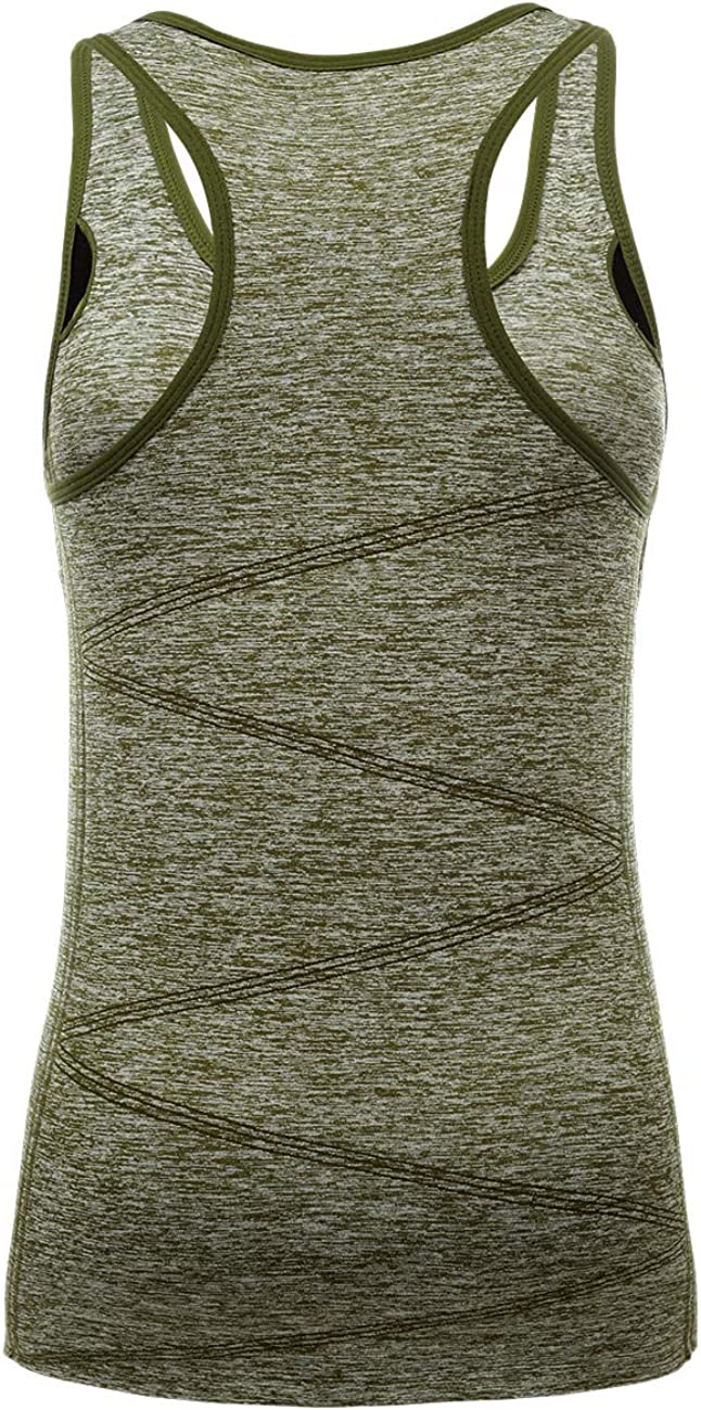 Womens Performance Stretchy Quick Dry Sports Workout Running Top Vest with Removable Pads DISBEST Yoga Tank Top