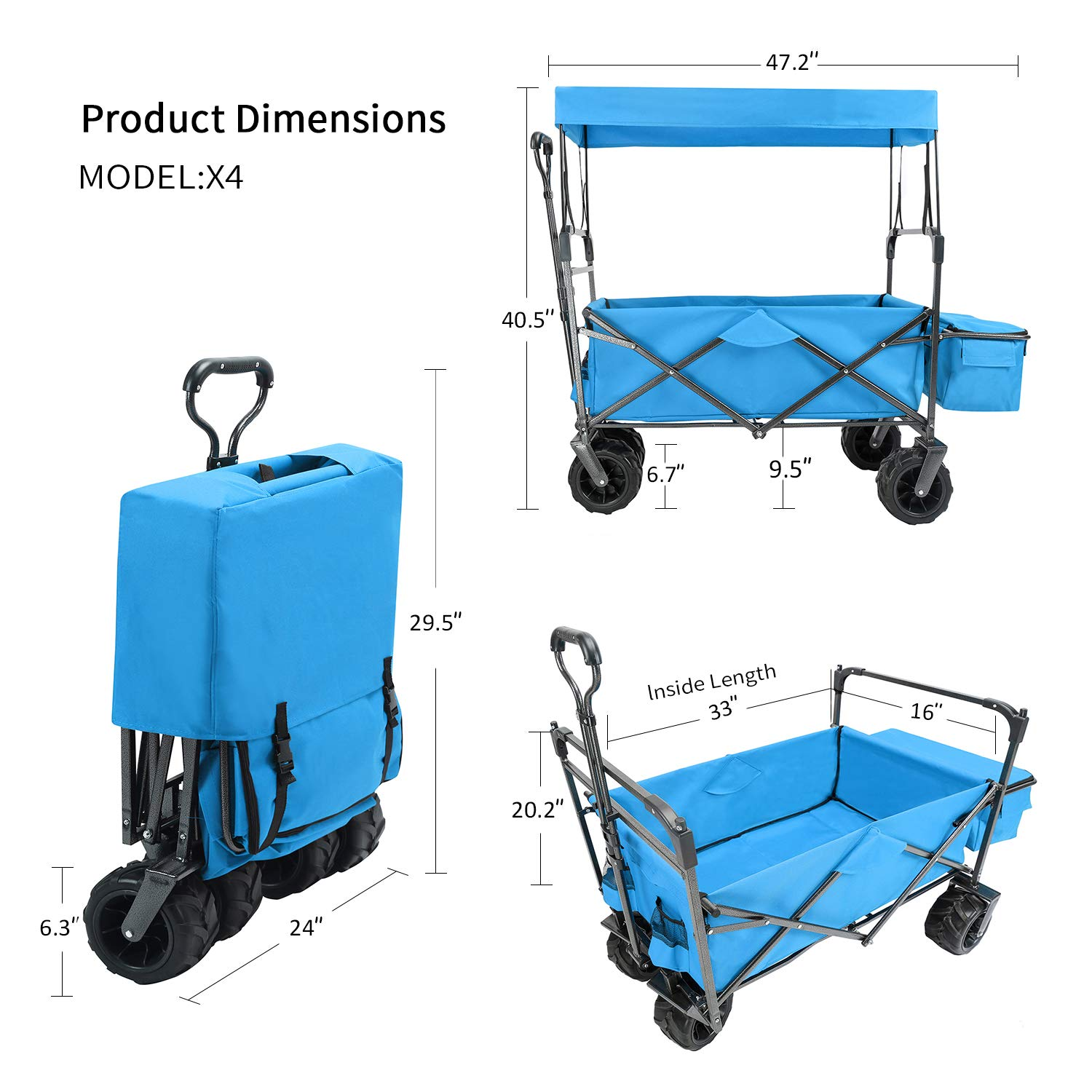 EXTEC Folding Stroller Wagon Collapsible with Canopy Outdoor Sport Baby Trolley Garden Utility Shopping Travel Beach Fishing Wagon Cart Free Carrying Bag Easy Setup NO to Purple