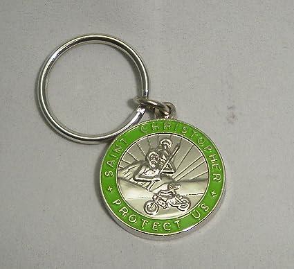 Amazon.com: St. Christopher Medalla de motocicleta llavero ...