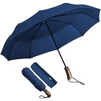 ECHOICE Paraguas Plegable Hombre Automático Antiviento, Paraguas Negro Compacto Resistente al Viento, Paraguas de Viaje