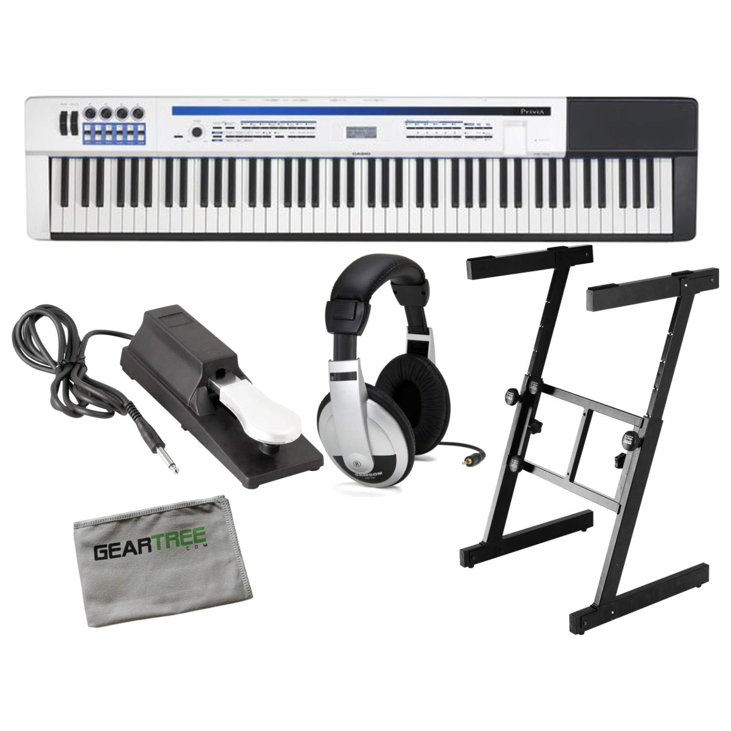 Casio PX-5S Privia Pro Digital Stage Piano 88 Key Weighted Hammer Action with Stand, Sustain Pedal, and Headphones by Casio