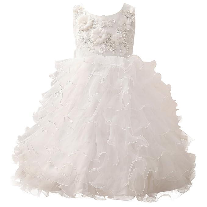 Erosebridal Vestidos de Niña de La Flor Vestidos de La Primera Comunión de Beadings Del Applique