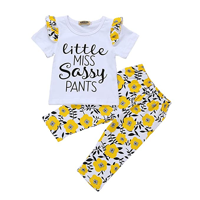 3af240a854d05 Amazon.com  Toddler Baby Girl Striped Bell Bottom Outfit Yellow Crop Top  Shirt+Flare Wide Long Pants Summer Clothes Set  Clothing