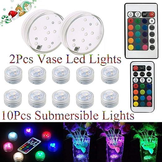 Decoraci/ón Clase de eficiencia energ/ética A Piscina Luz LED Impermeable RGB Multicolores Luz sumergible para Base de Jarr/ón Estanque Navidad Luces Sumergibles 2PCS