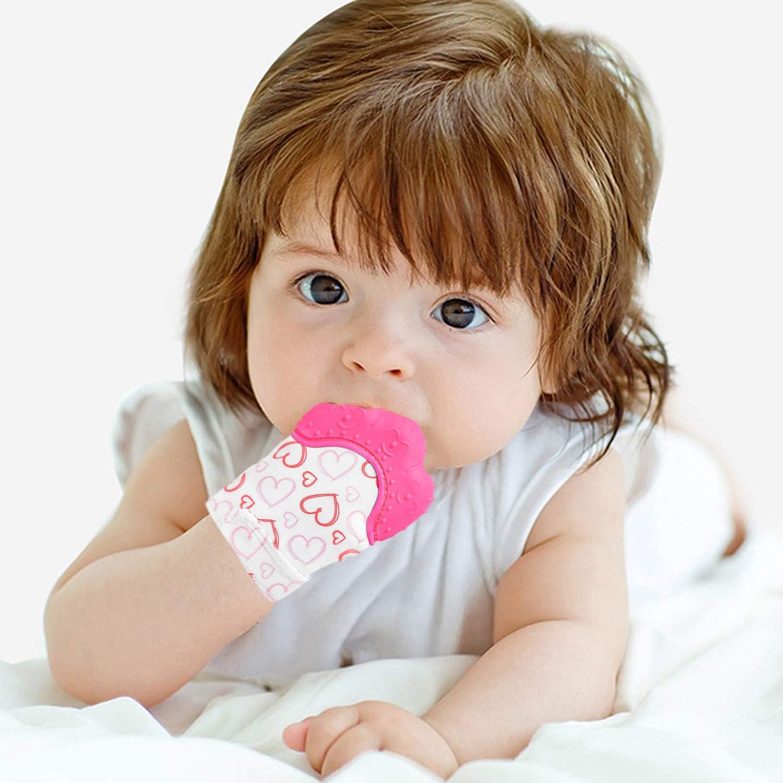 joli c/œur doux NEPAK 2 Pcs Mitaines de dentition pour b/éb/és,gant de dentition mitaine de dentition en silicone,apaisante Pain Relief,/Âge 3 12 Mois Prot/éger b/éb/é