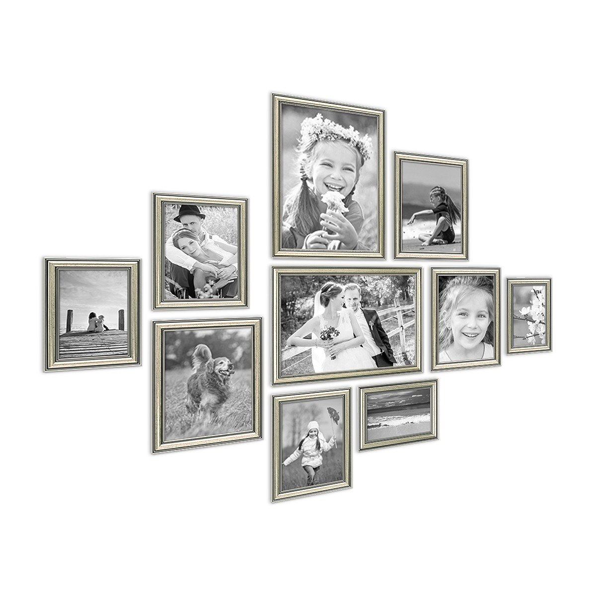 PHOTOLINI 10er Bilderrahmen-Collage Silber Barock Antik aus ...