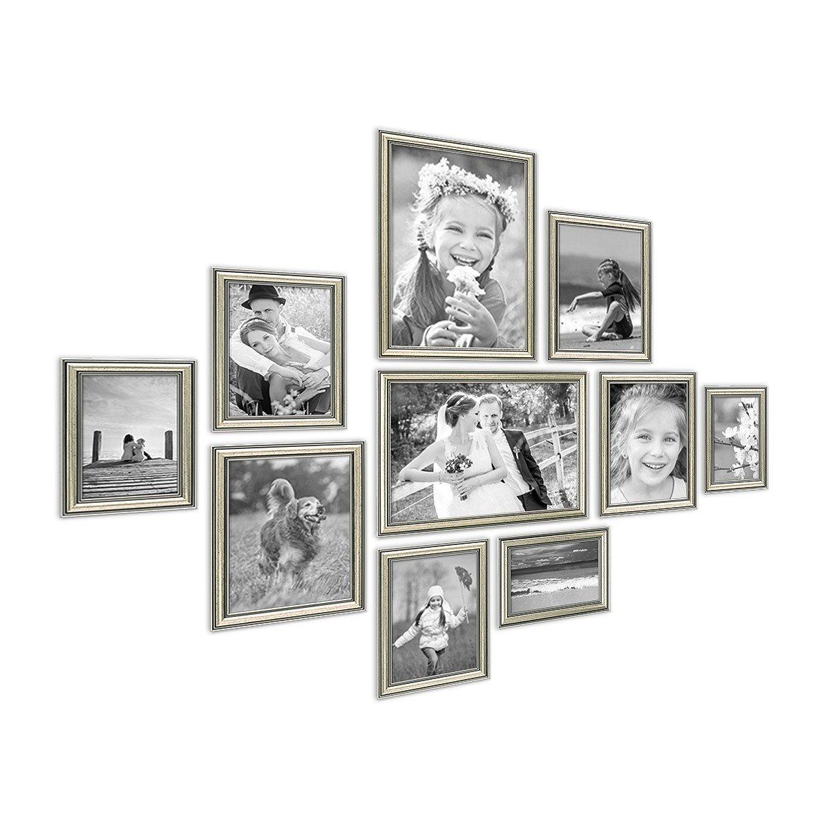 PHOTOLINI 10er Bilderrahmen-Collage Silber Barock Antik aus Kunststoff Inklusive Zubehör Foto-Collage Bildergalerie   Bilderrahmen-Set