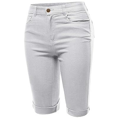 A2Y Women's Mid Rise Cotton Cuffed Hem Casual Fashion Bermuda Shorts | .com