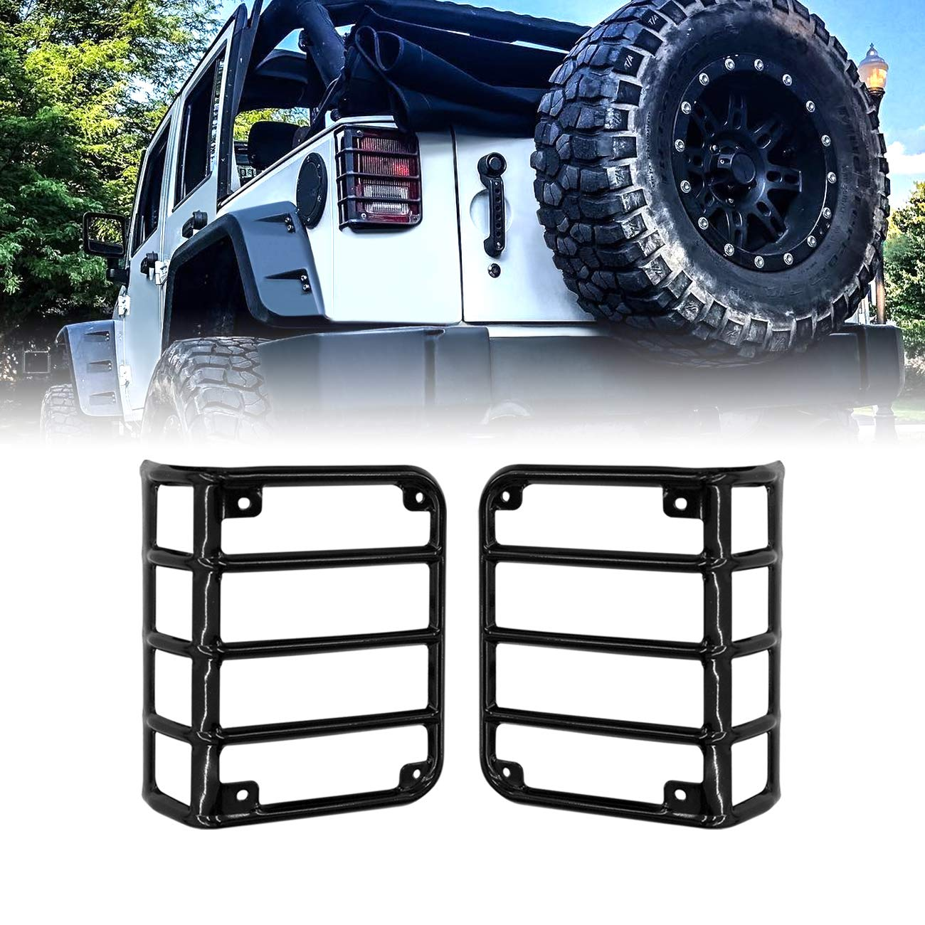 Allinoneparts 2007-2018 JK JKU Jeep Wrangler Tail Lamp Tail light Cover Trim Guards Protector Dog Paw Style for Jeep Wrangler Accessories /& Unlimited Rubicon Sahara Sports Pair