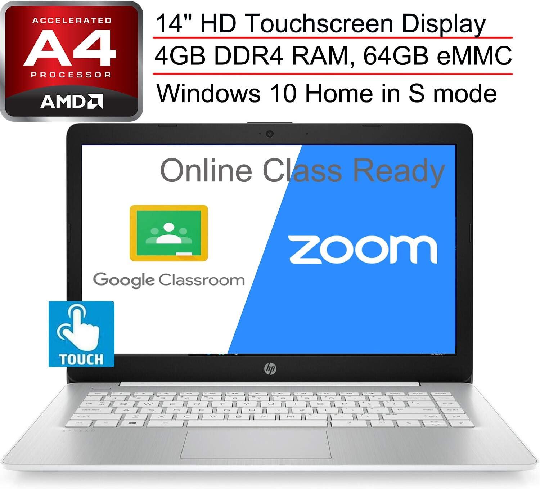 "(Renewed) HP Stream 14 14"" Laptop Computer, AMD A4-9120e up to 2.2GHz, 4GB DDR4 RAM, 64GB eMMC, 802.11ac WiFi, Bluetooth 4.2, Webcam, HDMI, Online Class Ready, White, Windows 10 S, SPMOR Mousepad"
