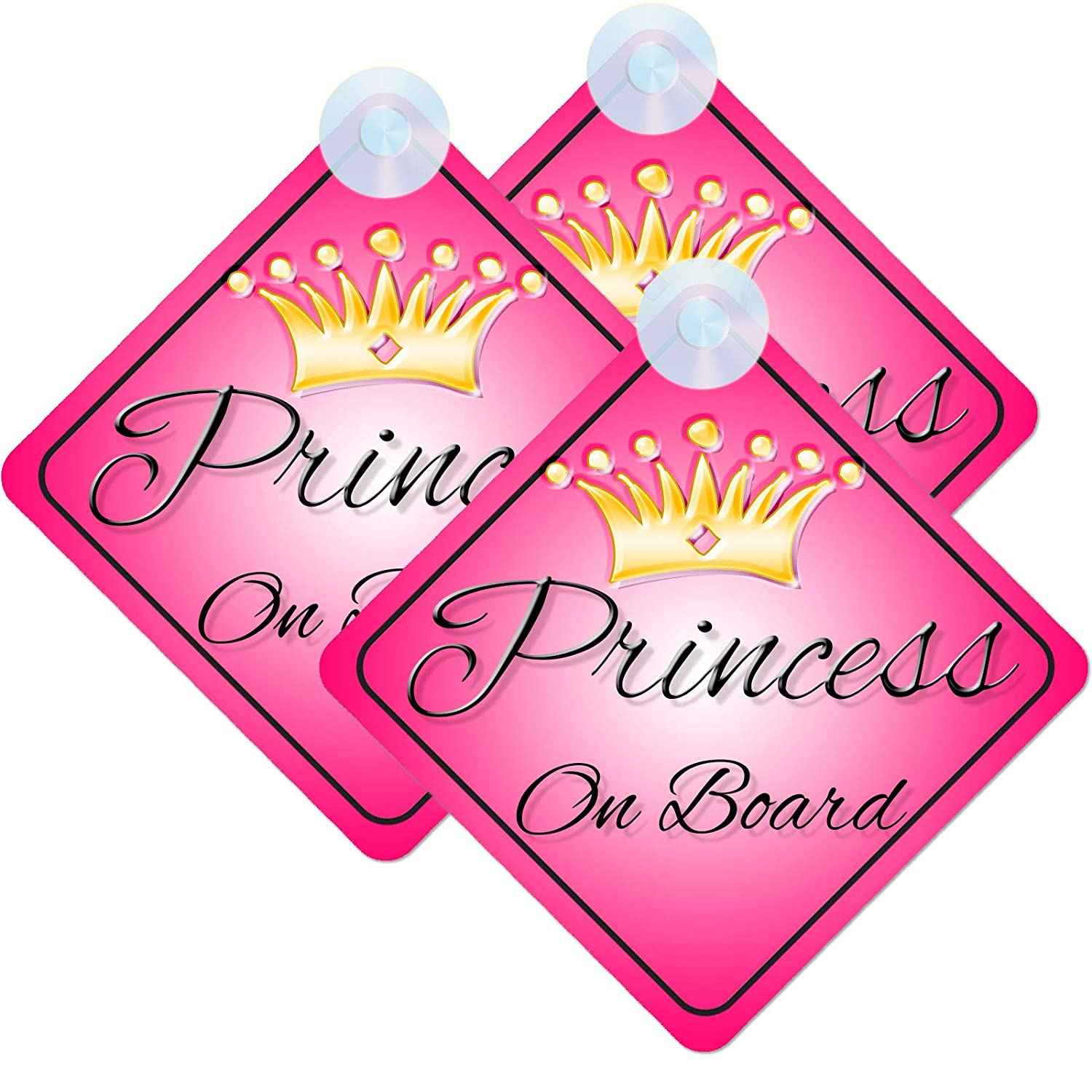 Baby In Car On Board Suction Cup Window Body Panel Safety Sign Logo Girl Baby in Car Pink