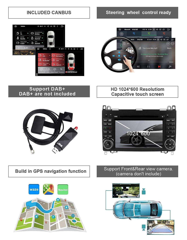 Aumume Android 9.0 Autoradio con Pantalla T/áctil para Mercedes Benz Sprinter B200 B-Class W245 B170 W169 con Navi Admite Reproducci/ón Autoplay Mirrorlink Bluetooth Dab WiFi con kaart de 16 GB