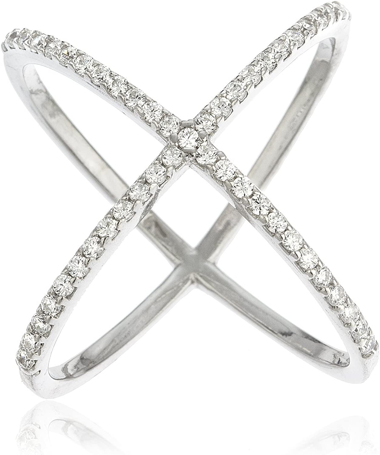 Sterling Silver X Ring Cubic Zirconia (CZ) Criss Cross Ring for Women