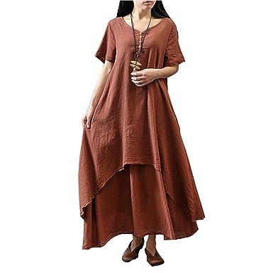 gome-z 2018 New Style Women Dress Vintage Cotton Linen Plus Size Loose Dress Vestidos M-5XL Size at Amazon Womens Clothing store: