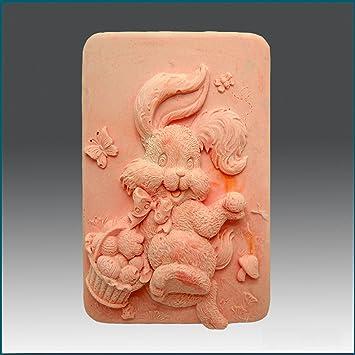 HOPPIN conejo con cesta – 2d jabón/vela/polímero/arcilla/porcelana