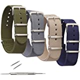4 Pack Nylon Watch Bands,OWNITOW Canvas Fabric Ballistic Nylon Watch Straps - Widths 16mm 18mm 20mm or 22mm 24mm