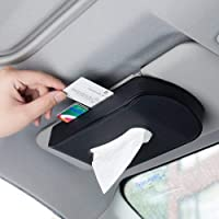 NIKAVI Leather Card Clip Car Visor Tissue Holder Mount, Hanging Tissue Holder Case for Car Seat Back, Multi-use Paper Towel Cover Case with One Tissue Refill for Car & Truck Decoration (Black)