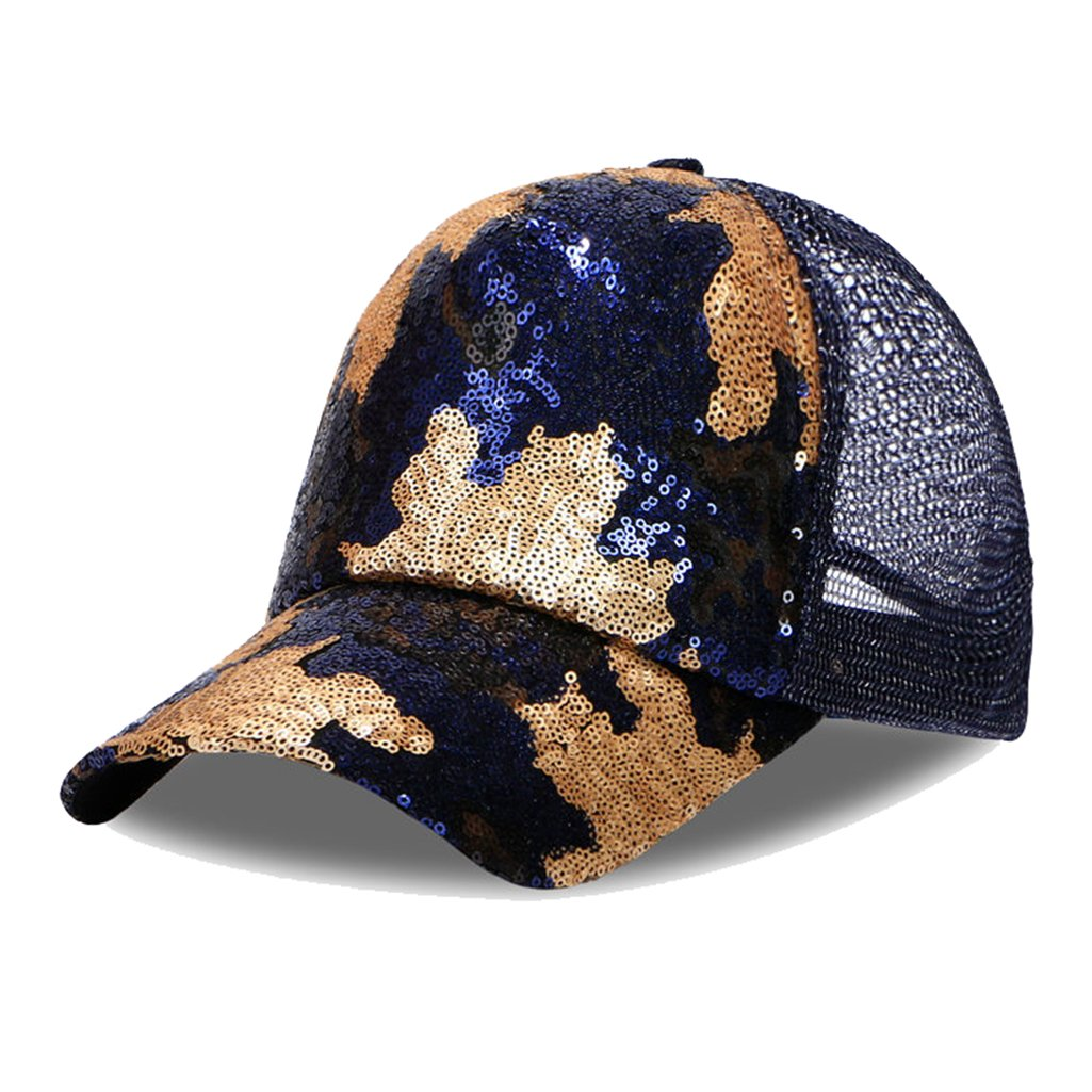 1b0734d142928 ba knife Ponycap Messy Bun Ponytail Reversible Magic Sequins Adjustable Baseball  Cap for Men Women Navy - C