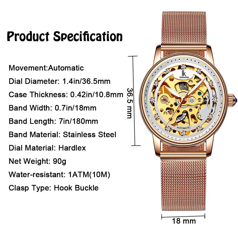 Womens Watch,Stone Automatic Dress Watch Luxury Skeleton Wrist Watch for Lady,Rose Gold Tone by Stone (Image #3)