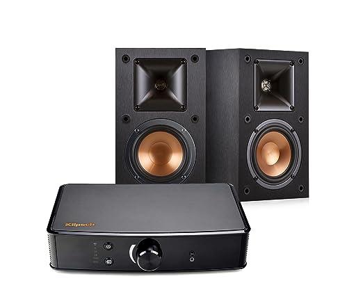 Klipsch R-14M Bookshelf Speakers and Powergate Amplifier Bundle, Black