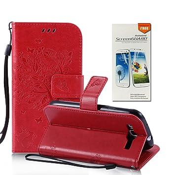 OuDu Funda Samsung Galaxy S3 Mini Carcasa de Billetera Funda PU Cuero para Samsung Galaxy S3 Mini Carcasa Suave Protectora - Rojo (Regalo:1 Protector ...