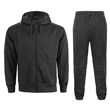 619db26c789 MENS HOODED TRACKSUIT JOGGING SWEAT SHIRTS HOODIES JOGGINGS BOTTOMS GYM  TROUSER Charcoal Grey