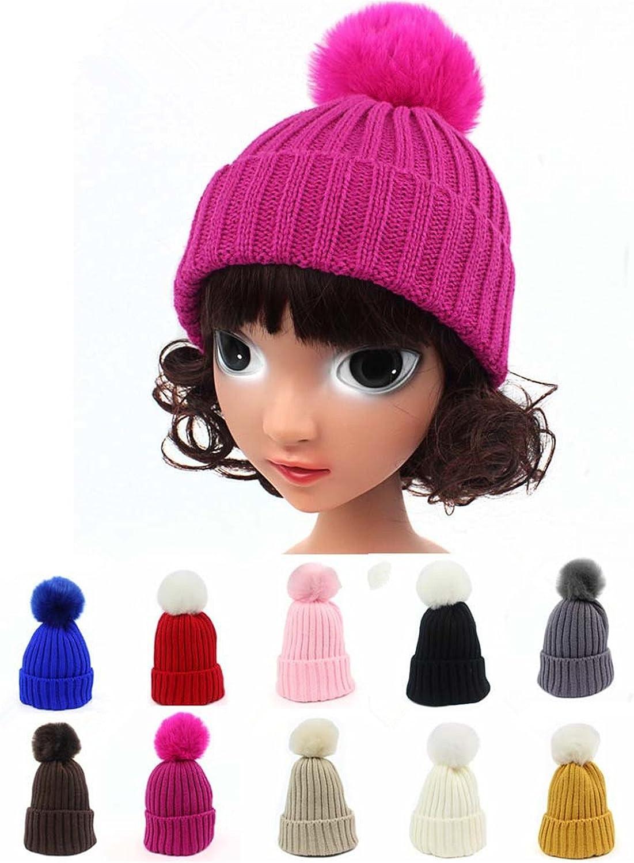 Qhome Fashion Kids Winter Slouchy Knit Beanie Chunky Real Raccoon Bulb Pom Poms Hat Bobble Hat Ski Cap
