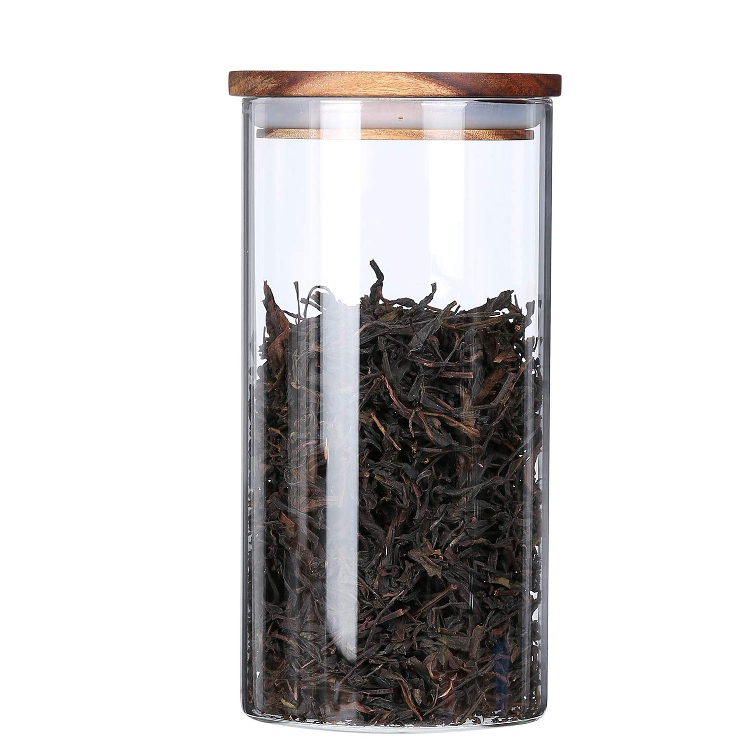 Clear Glass Canisters Jars Containers Set for Food Storage with Airtight Wood Lids,Kitchen Canister,Tea Coffee Canister Sugar Loose Leaf Tea Container Cookies Jar,BPA Free,39 oz,1-Piece set