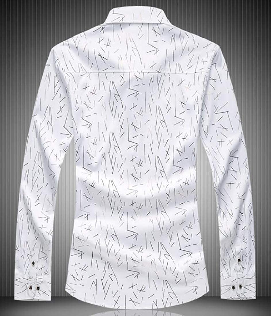 Domple Mens Printed Casual Business Long Sleeve Lapel Neck Slim Button Up Dress Shirt