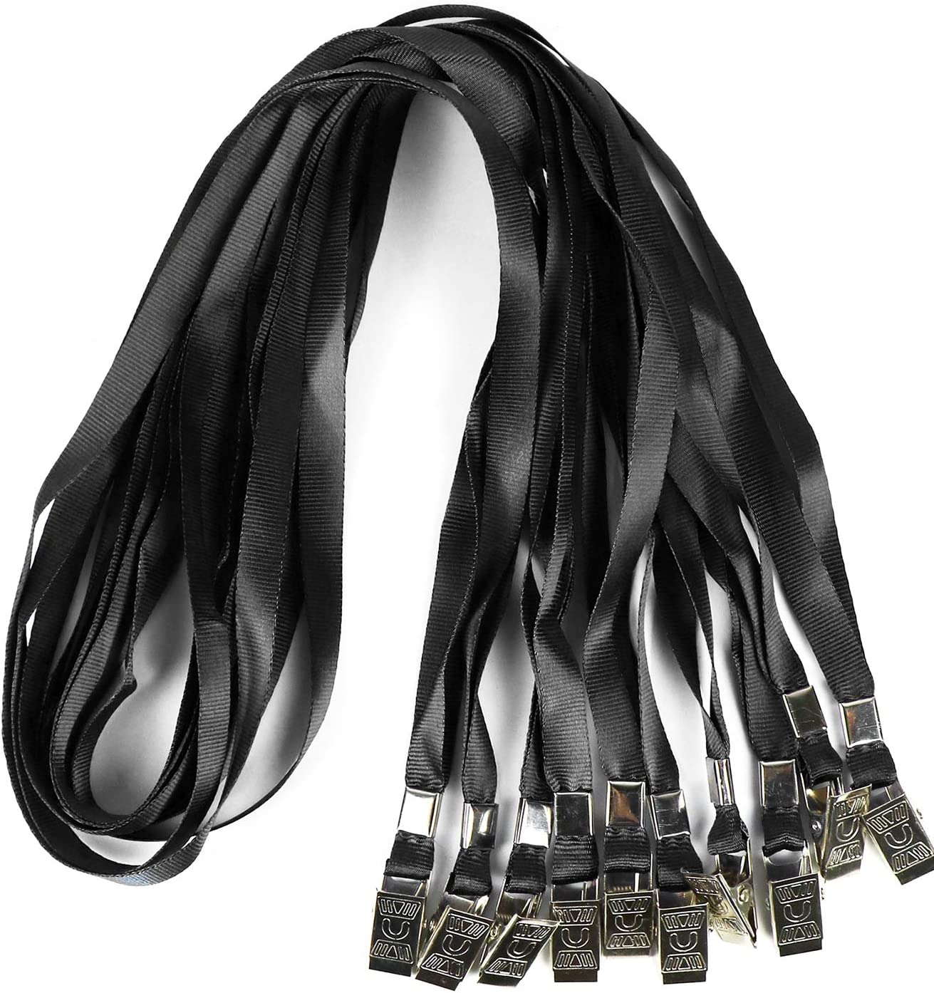 Black, Pack of 50 Lanyards Lanyards Bulk Cruise Lanyard Id Badges Flat Lanyards Nylon Badge Lanyards with Clip Comfortable Neck Straps for ID Card Name Badge Holder Kids Women Men
